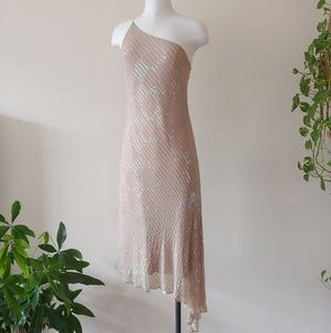 TAUPE IRIDESCENT SEQUIN & BEAD ONE SHOULDER DRESS